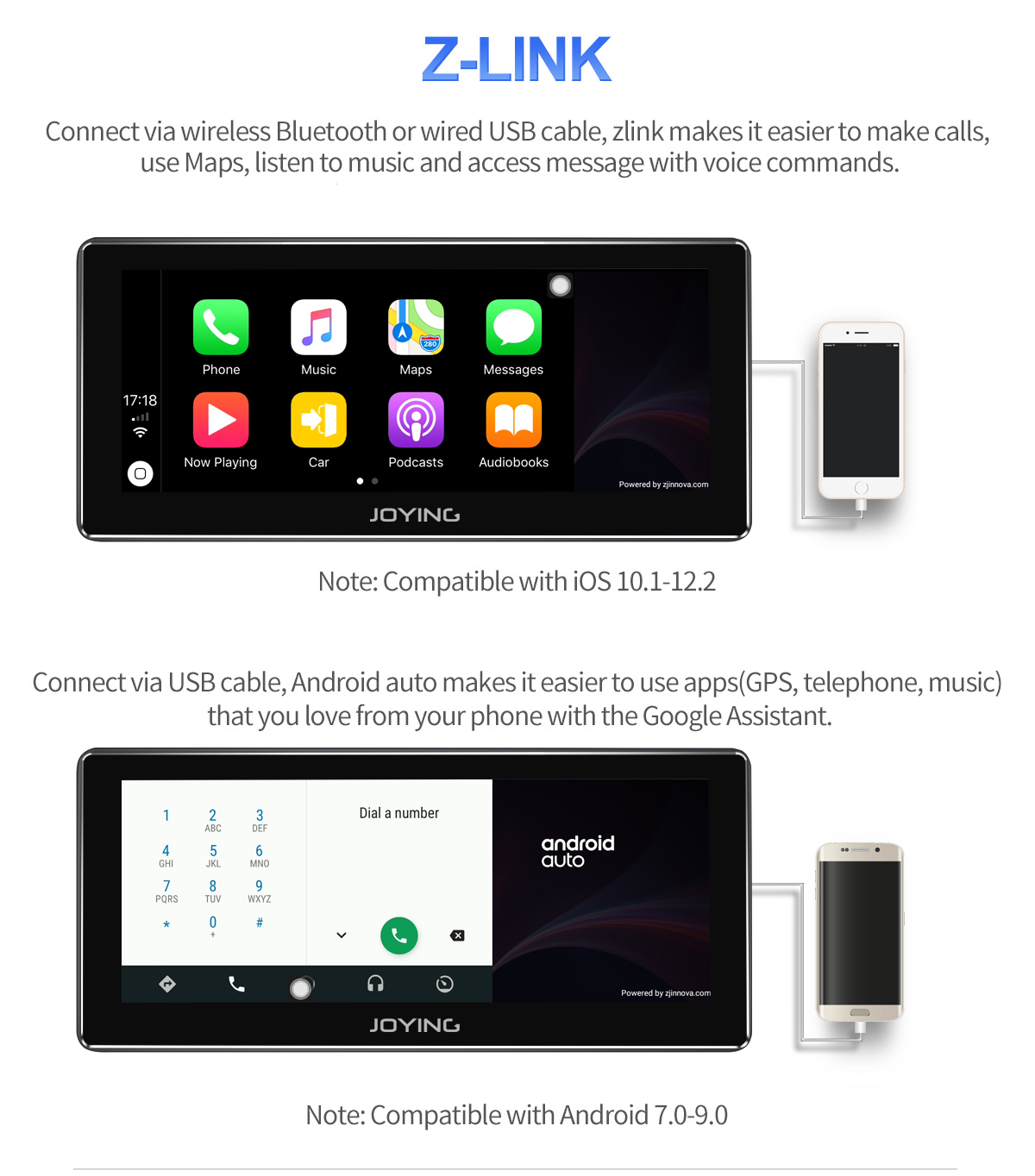 Joying 10 25 Inch Wide Screen Android 8 1 0 Car Head Unit Support Android  Auto And Carplay