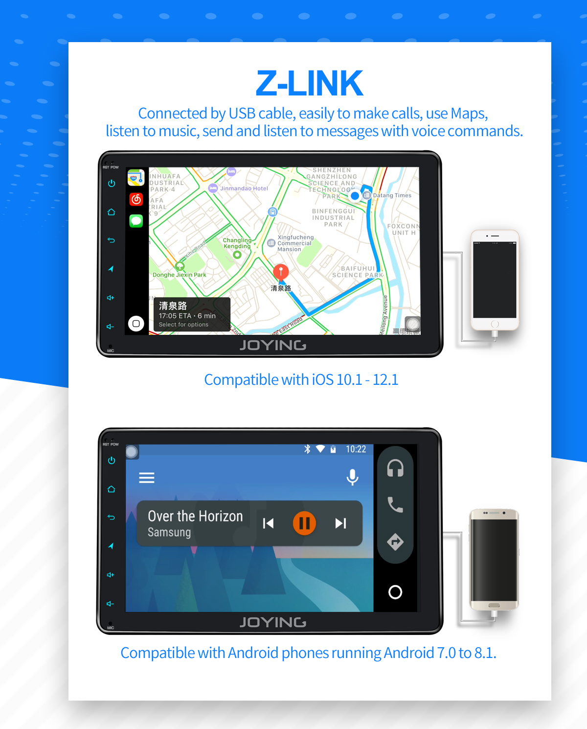 Joying EU Warehouse Single Din Android Auto Head Unit with Built-in 4G  Module